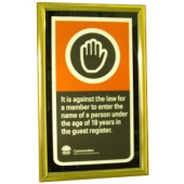 Compliance Sign Display Sign - An attractive way to display Compliance signage, Black, Gold or Silver frame with Black background, Sized to suit - portrait or landscape